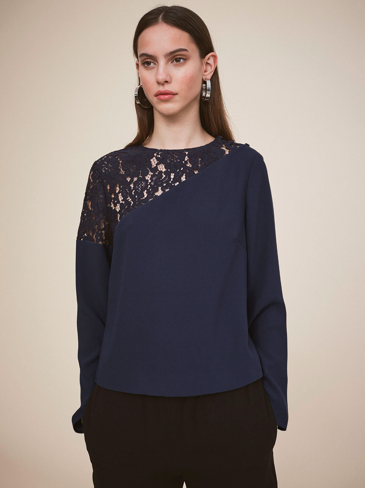 Deborah Navy Lace Panel Women's Top by KITRI Studio