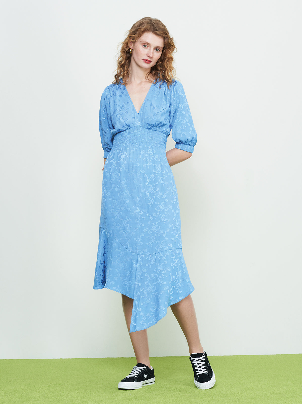 Dreda Blue Jacquard Tea Dress by KITRI Studio