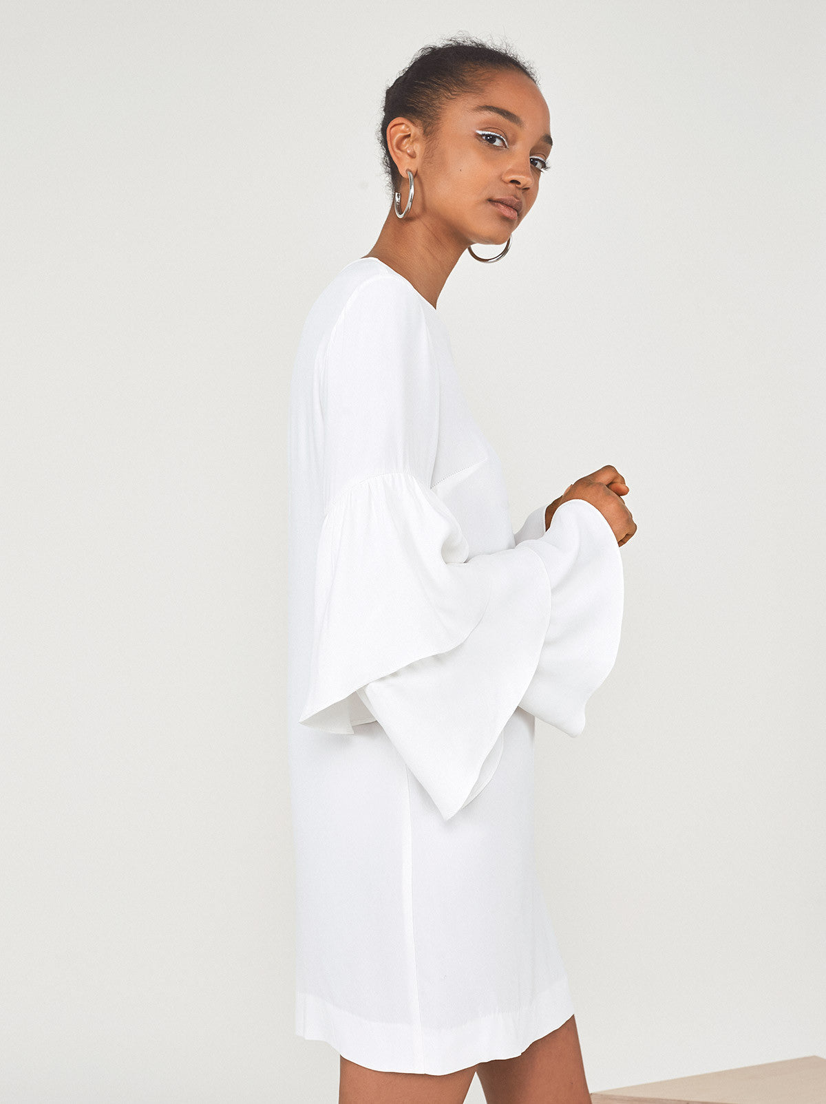 Dryad Frill Sleeve White Summer Dress by KITRI Studio