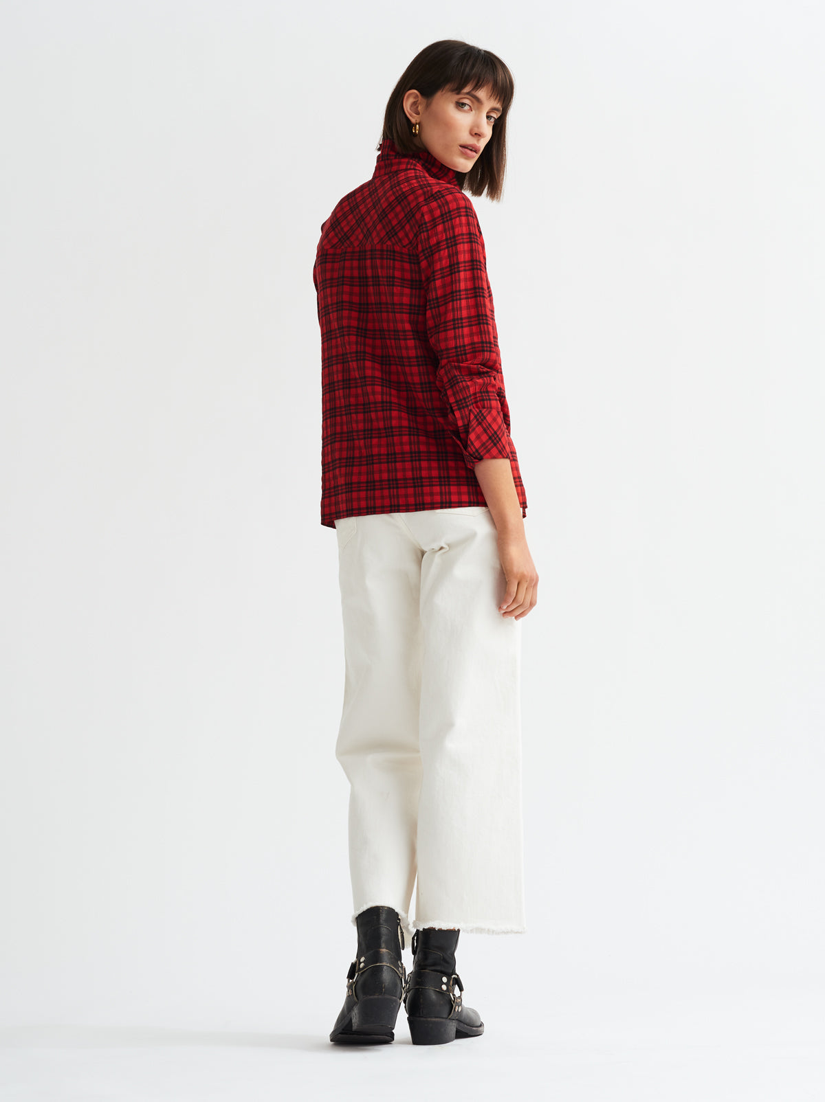 Elsie Red Check Frill Collar Shirt by KITRI Studio