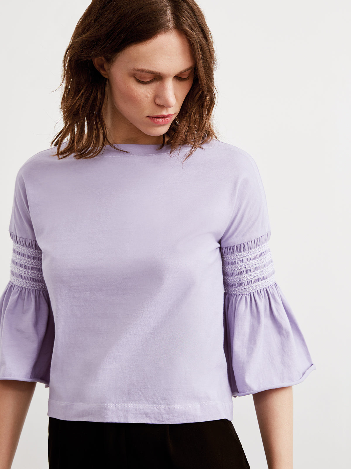 Esme Lilac Smocked Sleeve T-Shirt by KITRI Studio