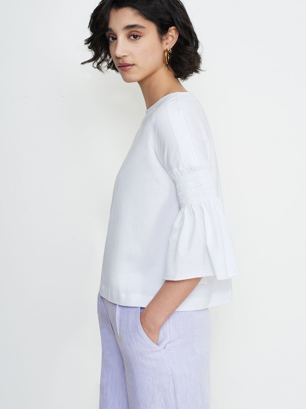 Esme White Smocked Sleeve T-Shirt by KITRI Studio