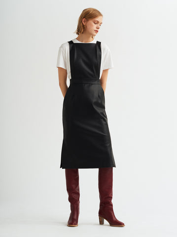 Evelyn Black Faux-leather PU Pinafore Dress by KITRI Studio