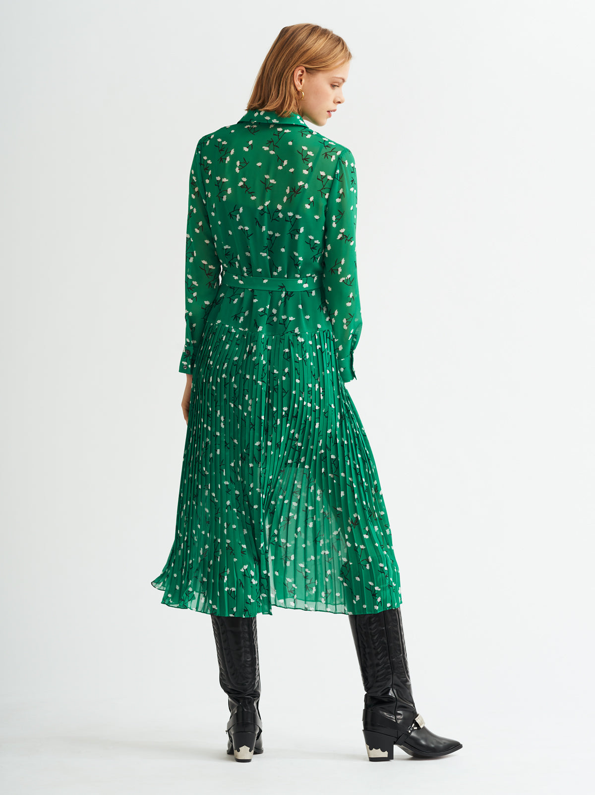 Gabriella Green Pleated Shirt Dress by KITRI Studio