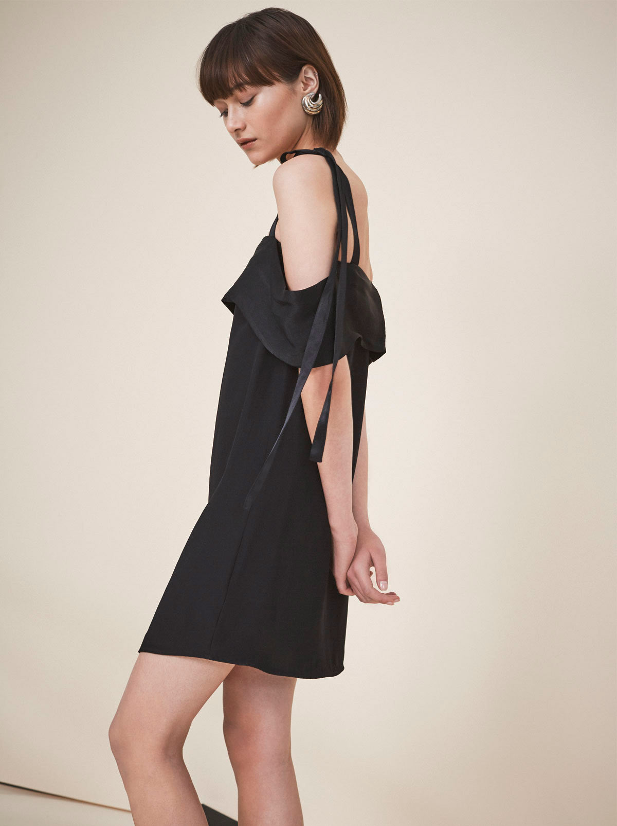 Gala Black Cold Shoulder Cocktail Slip Dress by KITRI Studio