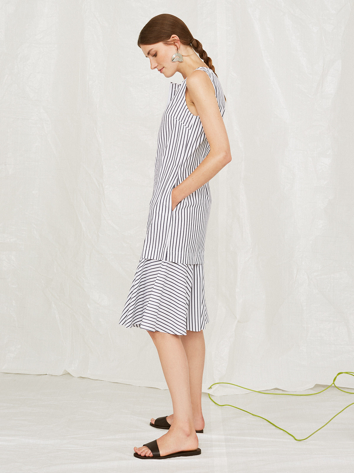 Geiden Petal Hem Midi Striped Shirt Dress by KITRI Studio