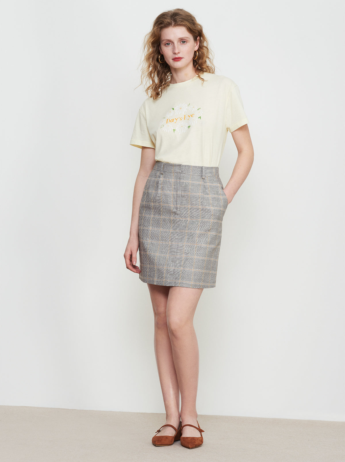 Giana Grey Check Linen Mini Skirt by KITRI Studio