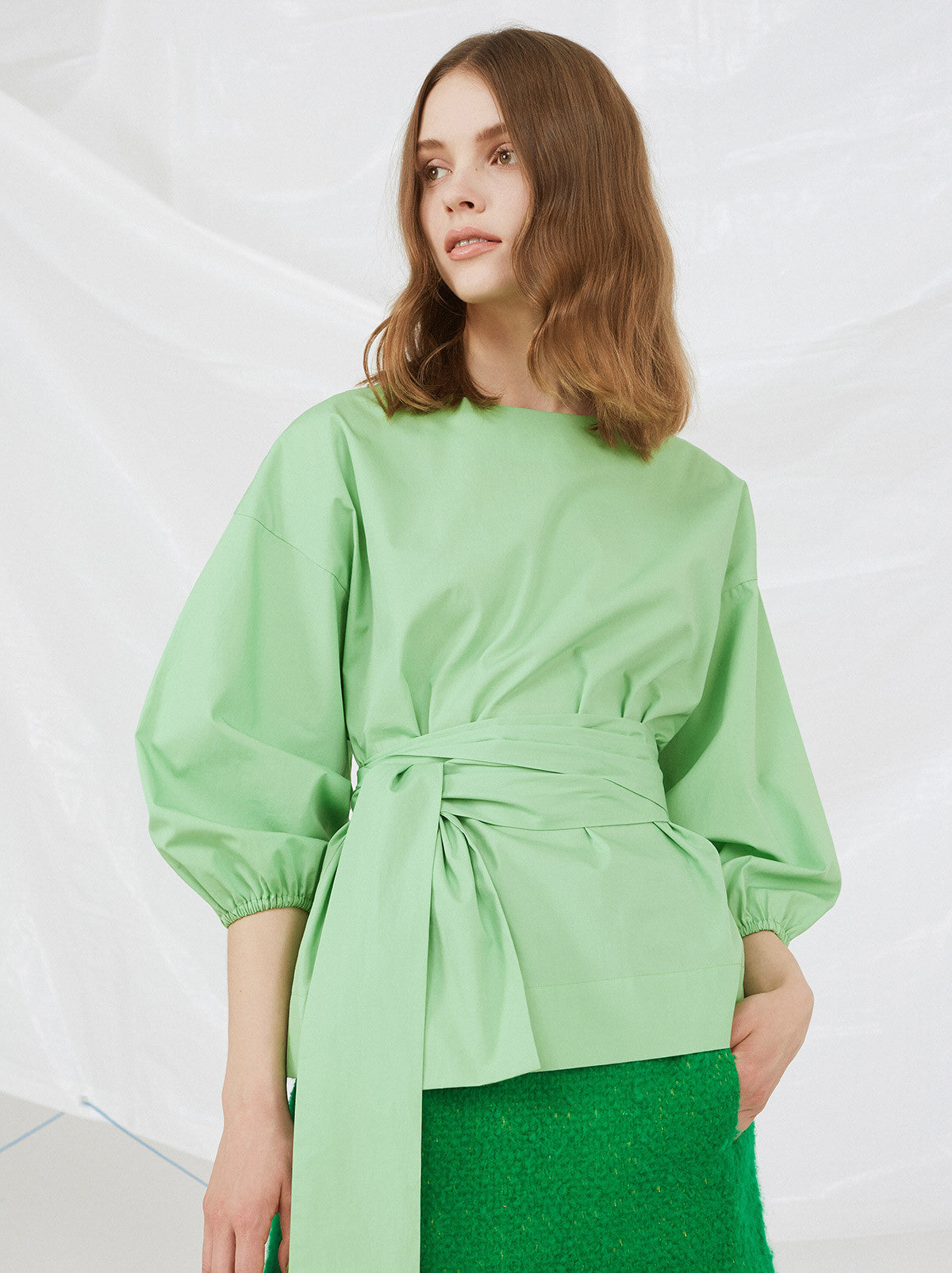 Green Cotton Collarless Anna Cocoon Sleeve Shirt by KITRI Studio