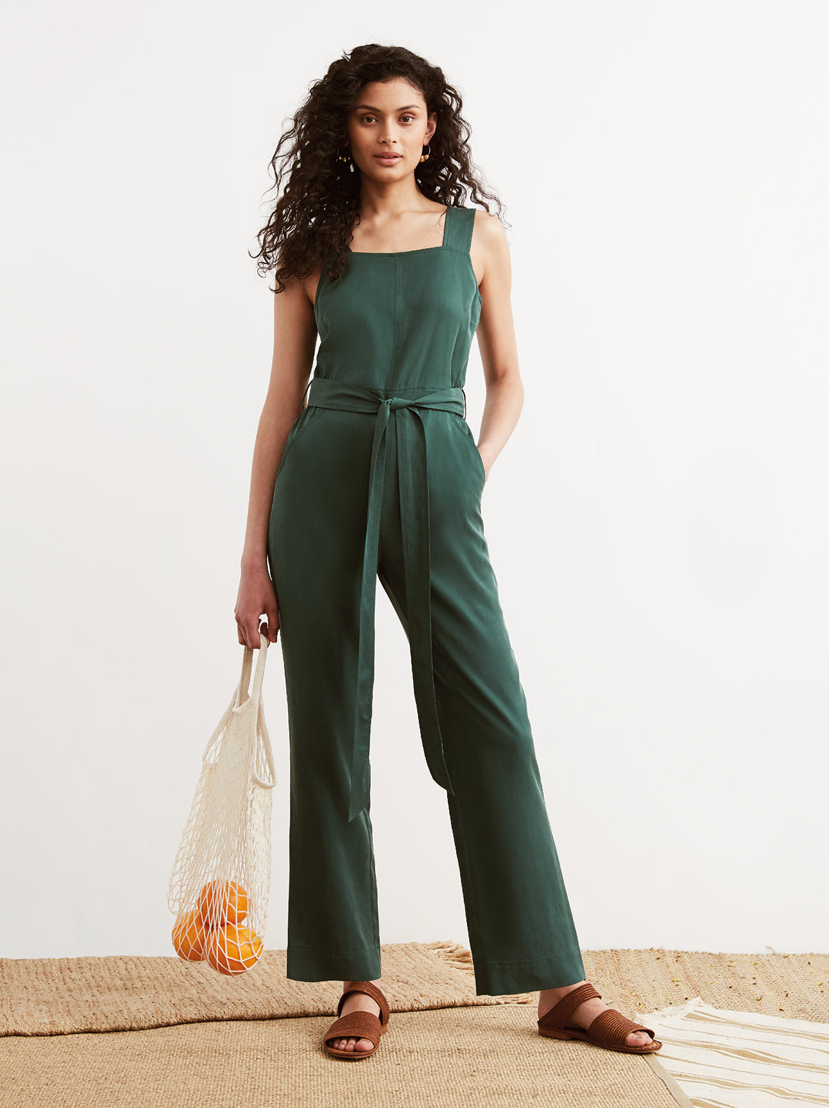 Janelle Green Belted Jumpsuit by KITRI Studio