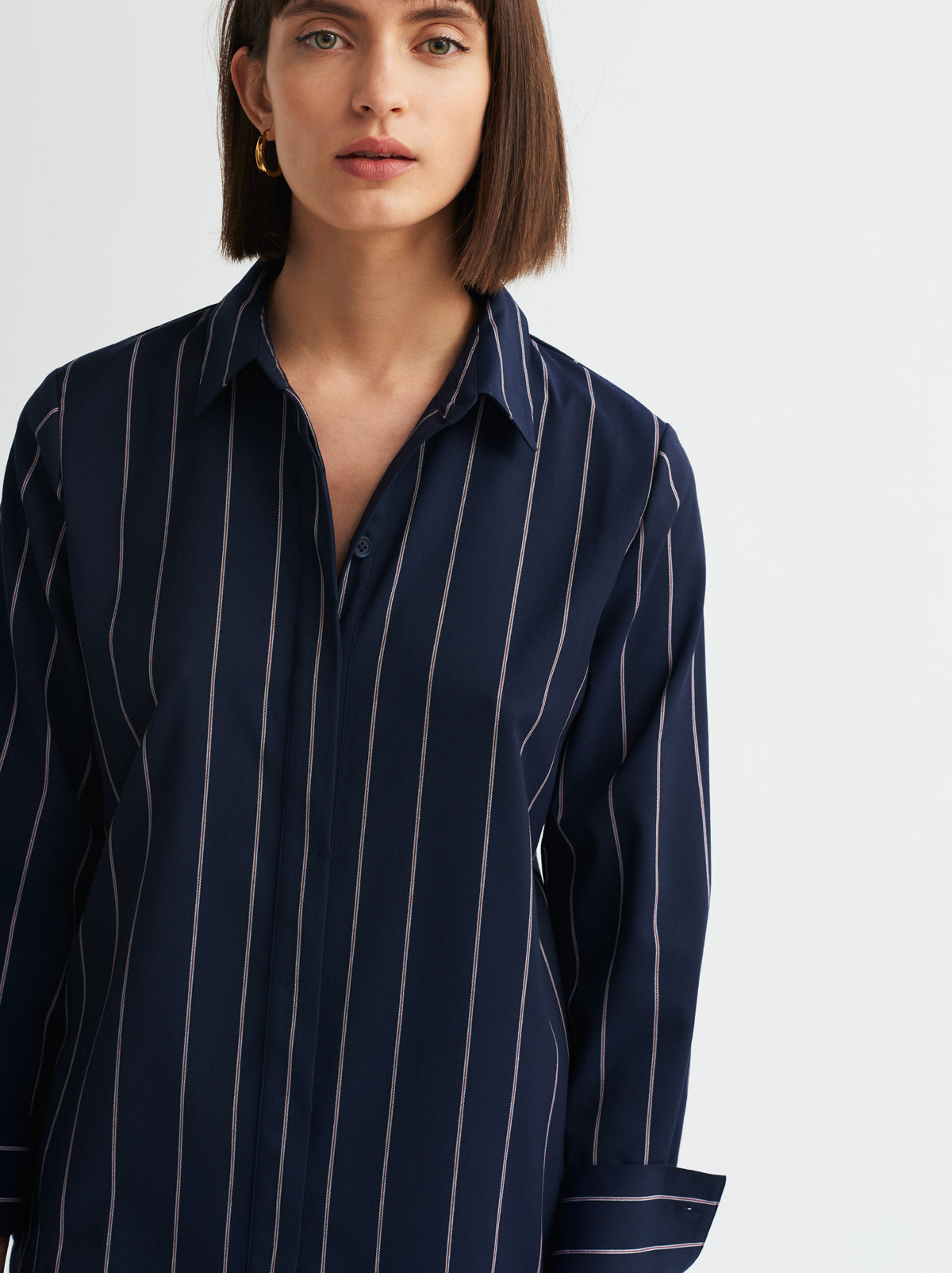 Jill Pinstripe Shirt Dress by KITRI Studio