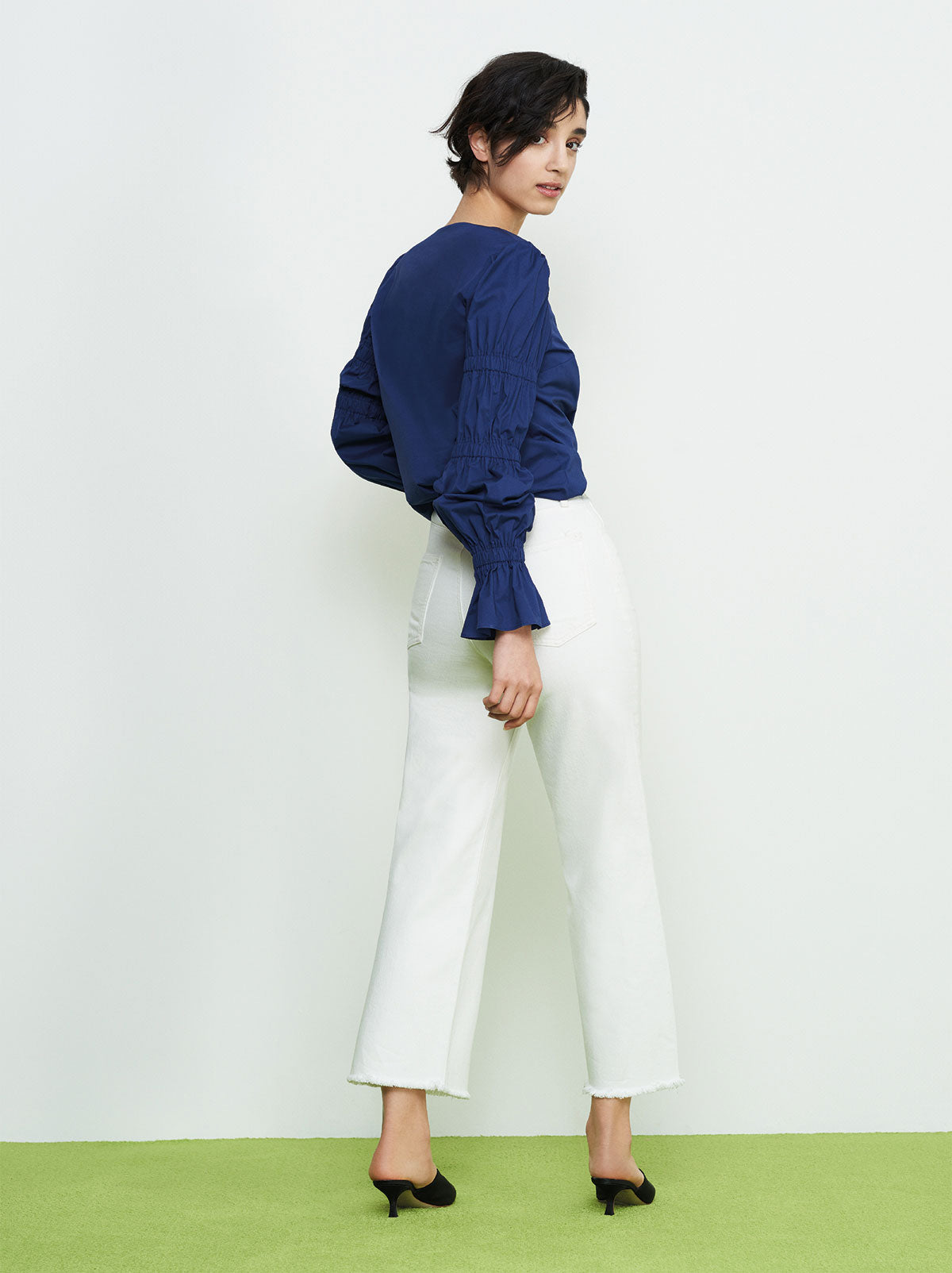 Karolina Navy Elasticated Statement Sleeve Shirt by KITRI Studio