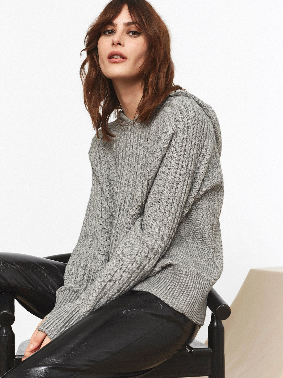 Kate Grey Cable Knit Hoody