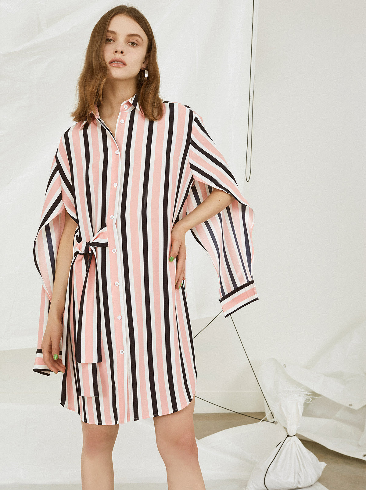 Katy Striped Shirt Sundress by KITRI Studio