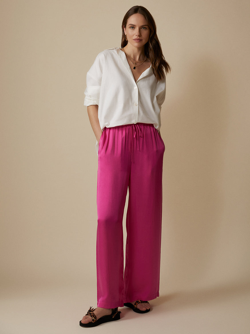 Kent Pink Drawstring Trousers by KITRI Studio