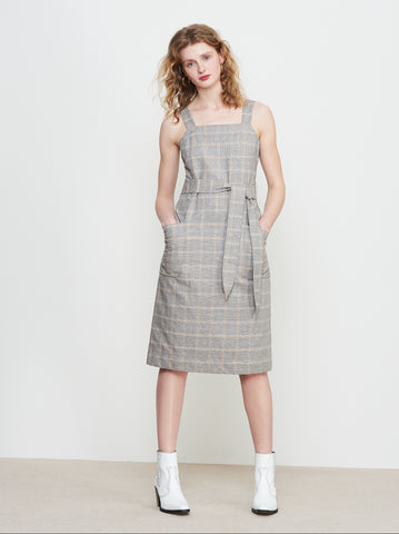Kiara Grey Check Linen Tie Waist Pinafore Dress by KITRI Studio