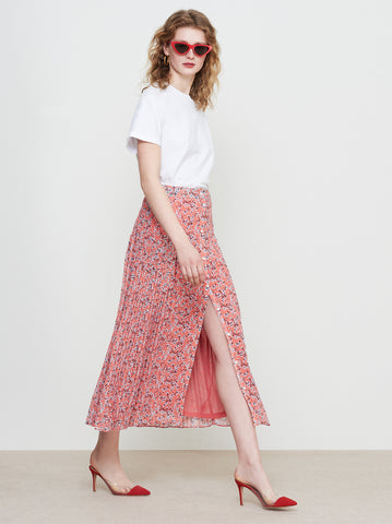 Kira Orange Floral Chiffon Pleated Midi Skirt by KITRI Studio