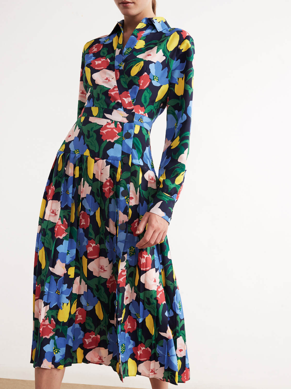 Liana Floral Print Pleated Midi Shirt Dress by KITRI Studio