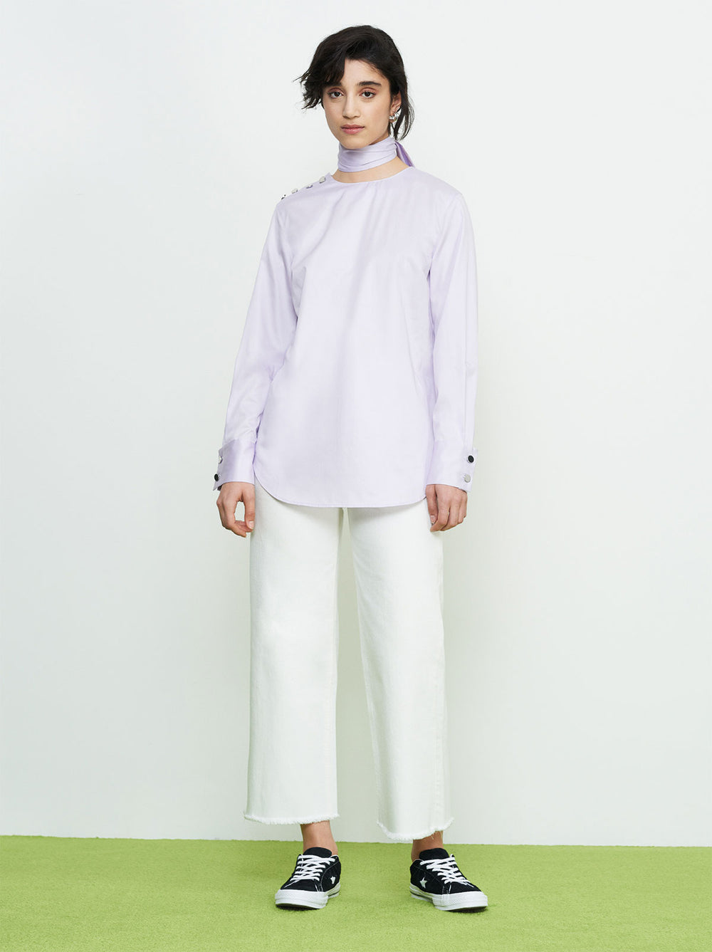 Lilac Scarf Neck Shirt