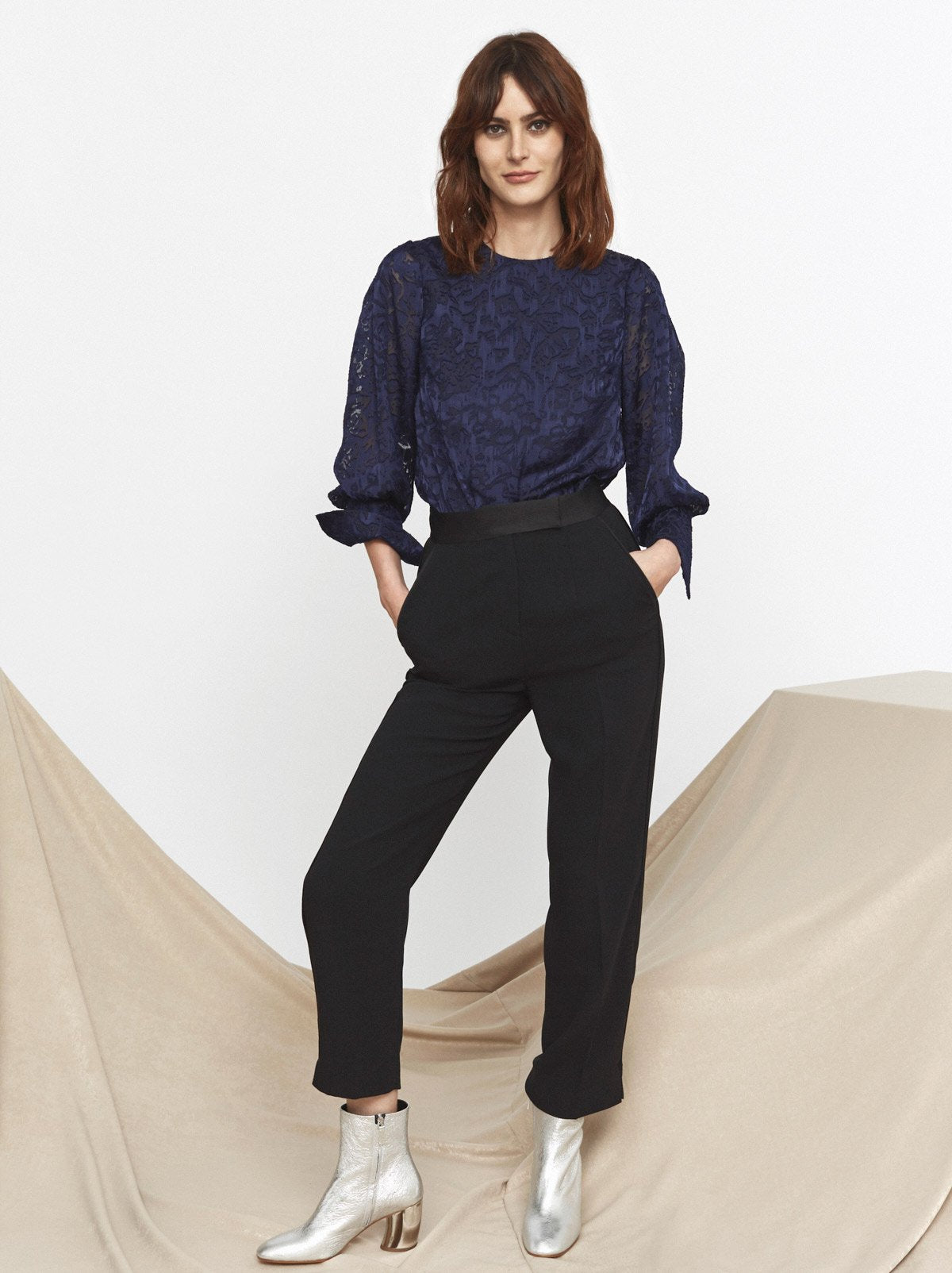 Lorelle Blue Extended Cuff 3/4 Sleeve Top by KITRI