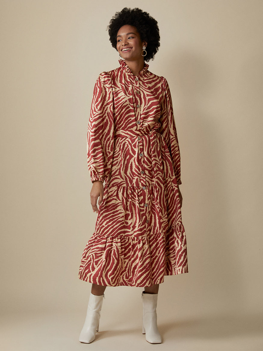 Lori Animal Print Shirt Dress by KITRI Studio