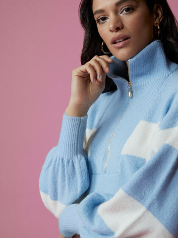 Lorna Blue Striped Alpaca Blend Zip Collar Sweater by KITRI Studio