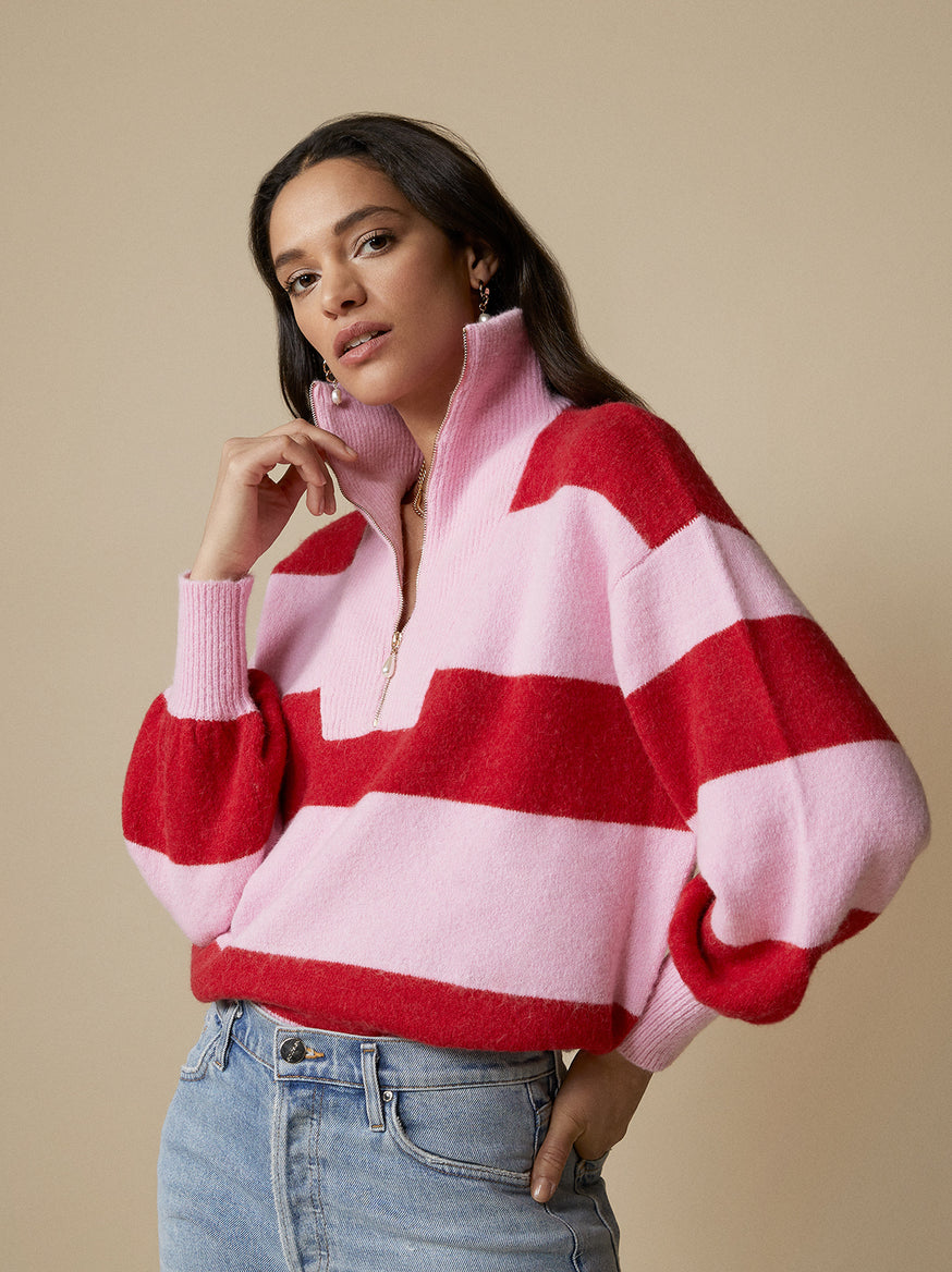 Lorna Pink Striped Alpaca Blend Zip Collar Sweater by KITRI Studio