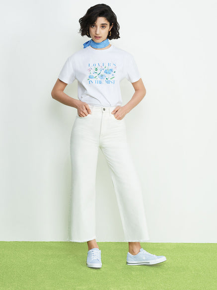Lovers Printed Cotton Crew Neck T-shirt by KITRI Studio