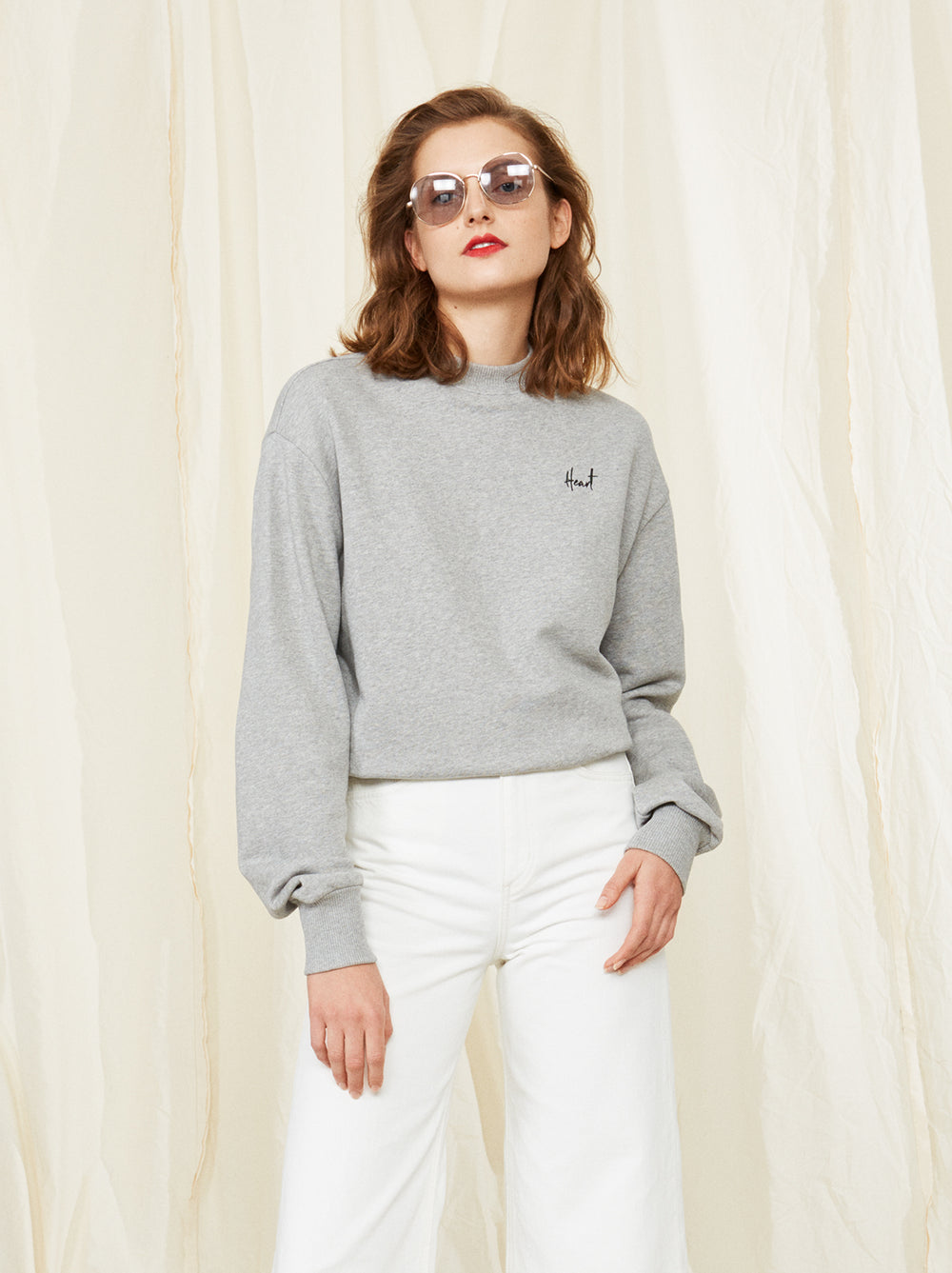 Luca Grey Heart Sweatshirt by KITRI Studio | Women's Grey Oversized Sweatshirts