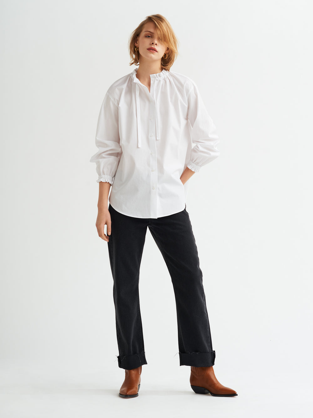 490abc953fa Lucinda White Gathered Neck Cotton Shirt by KITRI Studio ...