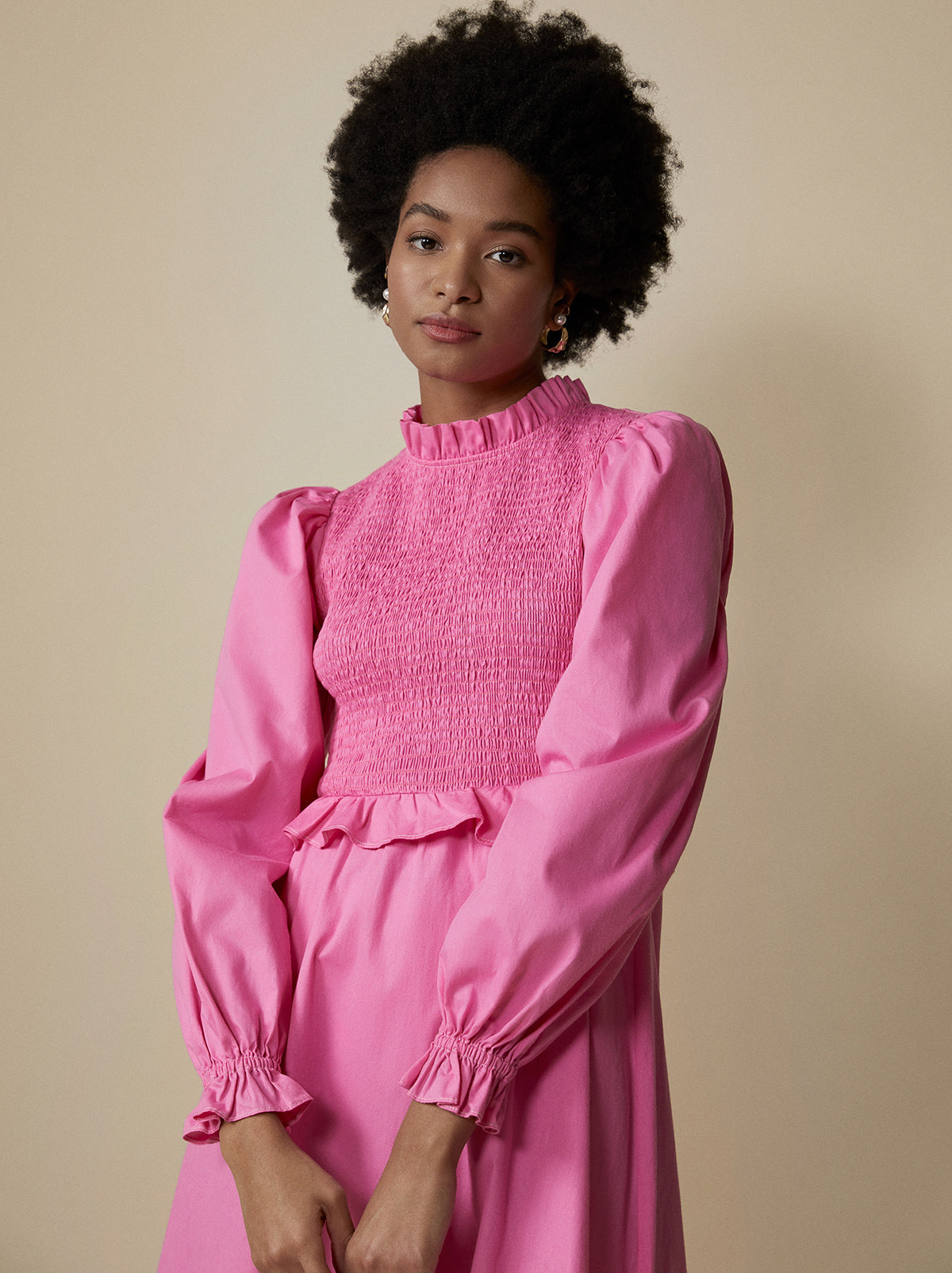 Marcia Pink Smocked Cotton Dress by KITRI Studio