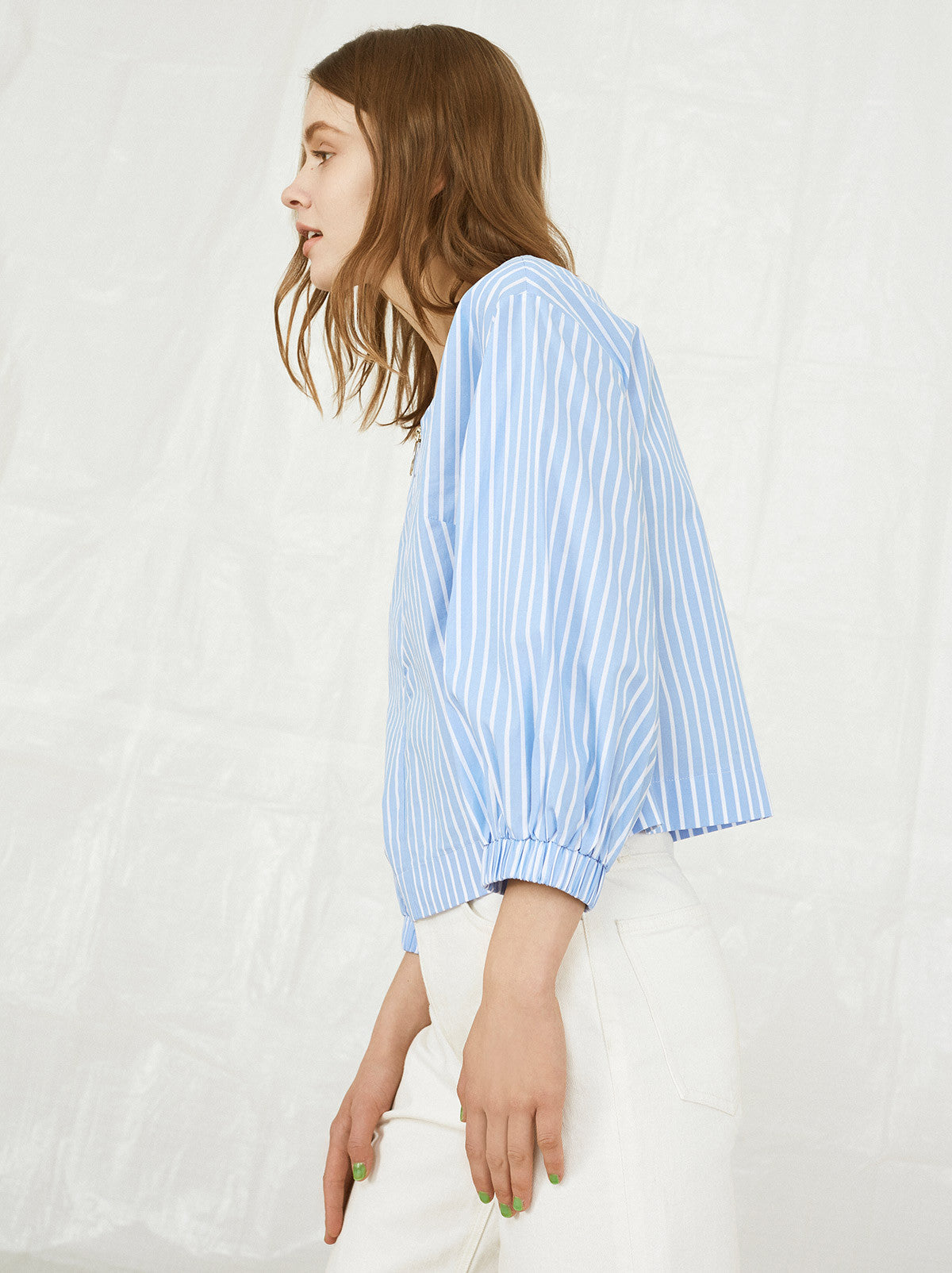 Maria Striped Cotton Zip Shirt by KITRI Studio