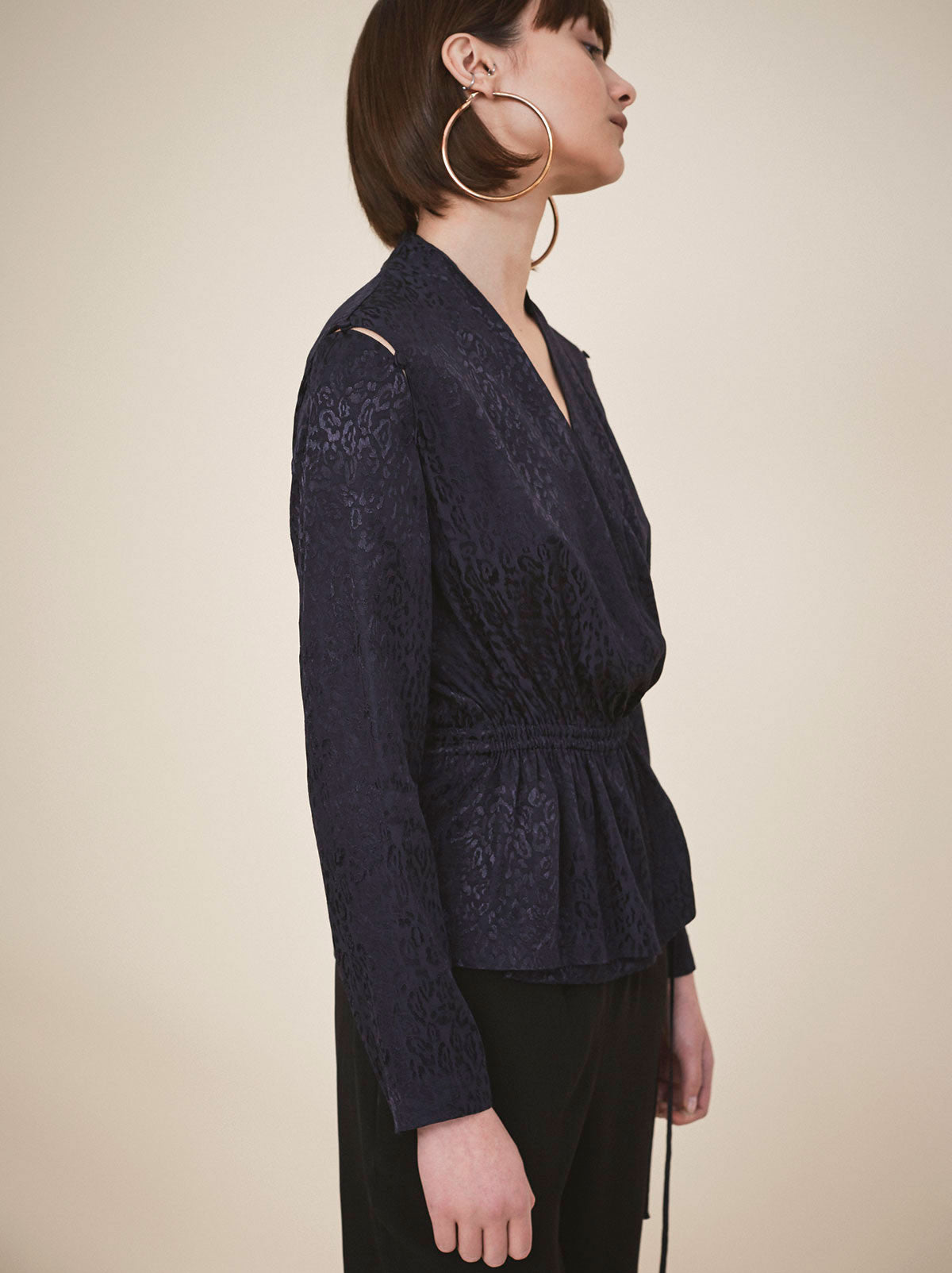 Marie Navy Wrap Blouse