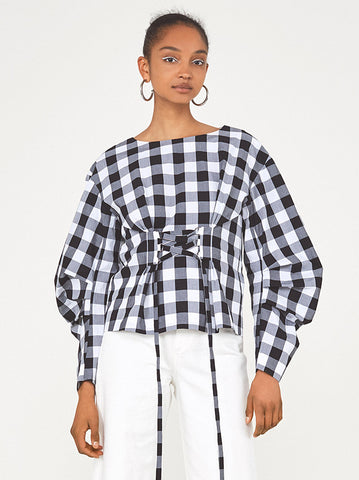 Mathilde Gingham Long Sleeve Corset Shirt by KITRI Studio