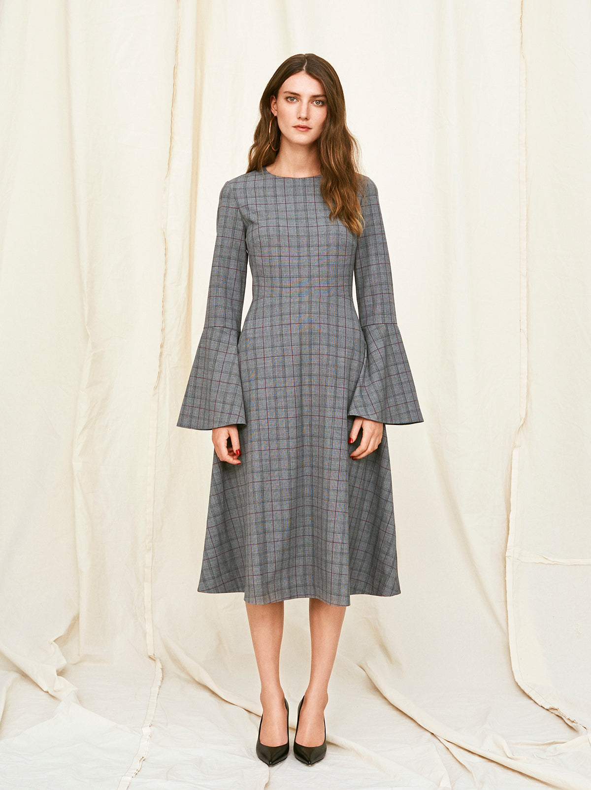Natalie Checked Midi Dress