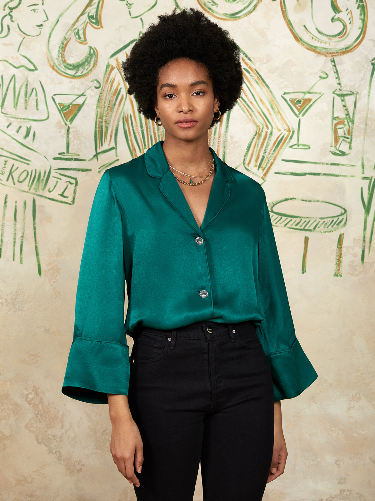 Nina Emerald Satin Pj Top by KITRI Studio