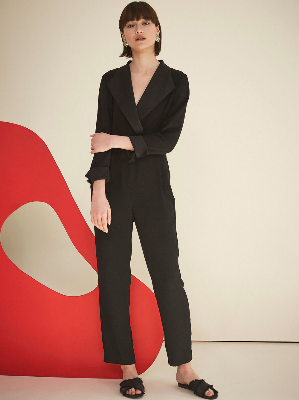 Ninette Black Tuxedo Jumpsuit | Women's Jumpsuits by KITRI Studio