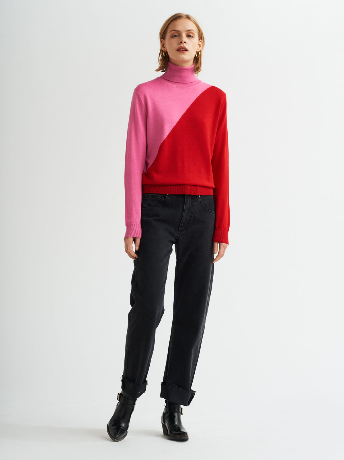 Phoebe Pink Roll Neck Jumper