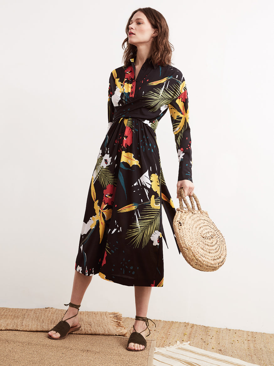 Phoenix Floral Print Tie Waist Long Sleeve Shirt Dress by KITRI Studio