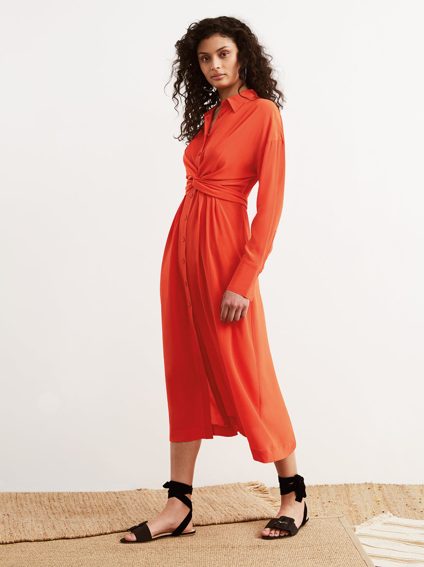 Phoenix Red Silk Tie Waist Long Sleeve Shirt Dress by KITRI Studio