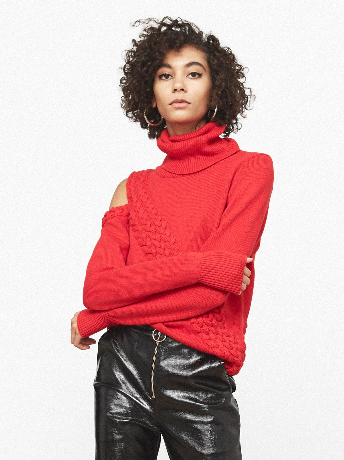 Ava Red Cutout Roll Neck Jumper