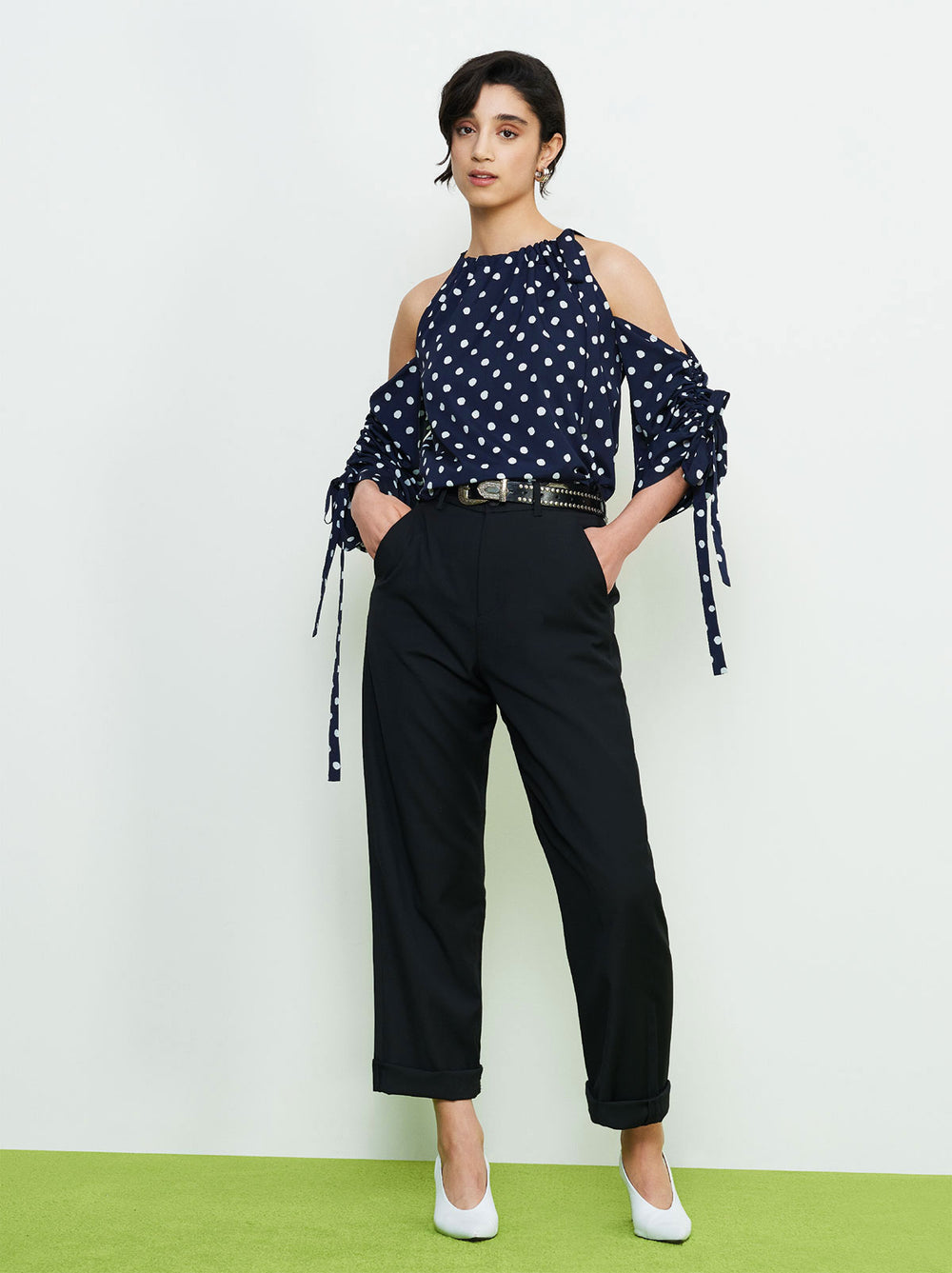 Reese Navy Polka Dot Cold Shoulder Top by KITRI Studio
