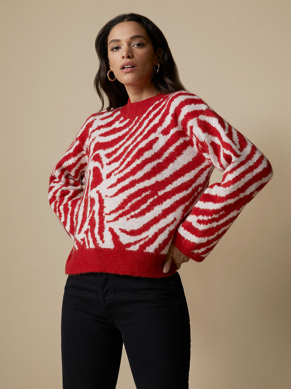 Reese Red Animal Sweater by KITRI Studio