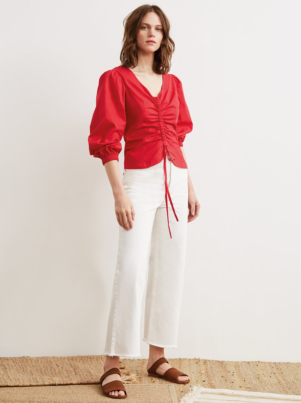 31d83bb9ce229c ... Riley Red Ruched Cotton Statement Sleeve Shirt by KITRI Studio