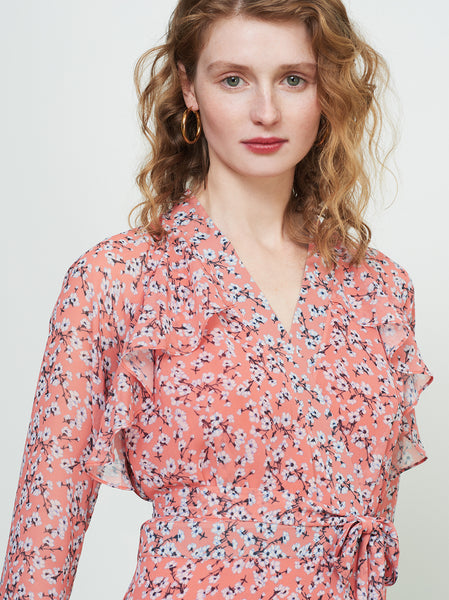 Rosalie Orange Floral Frill Wrap Dress by KITRI Studio