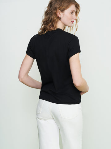 Rumi Black Ribbed Crew Neck T-Shirt by KITRI Studio