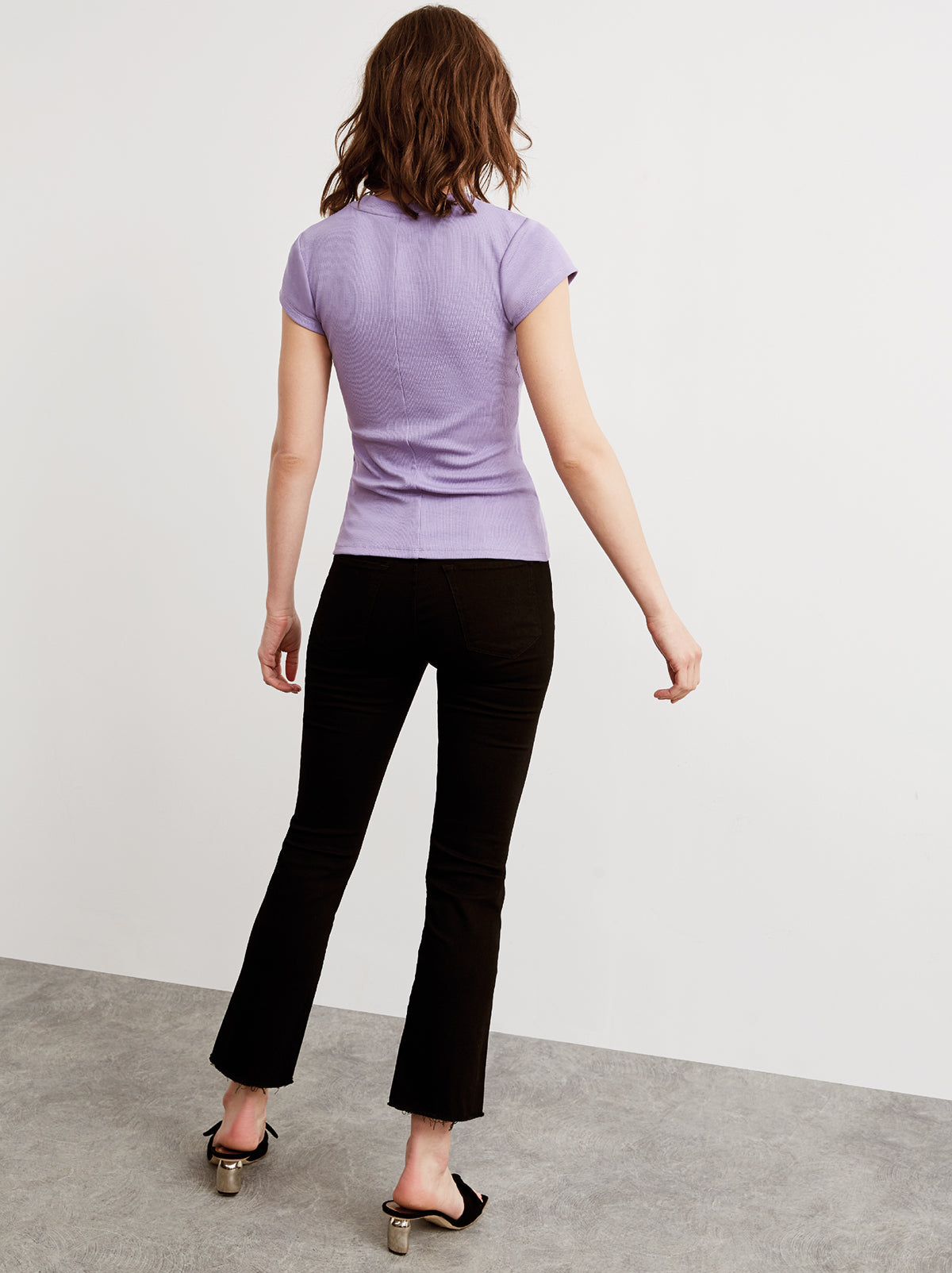 Rumi Lilac Ribbed Crew Neck T-Shirt by KITRI Studio