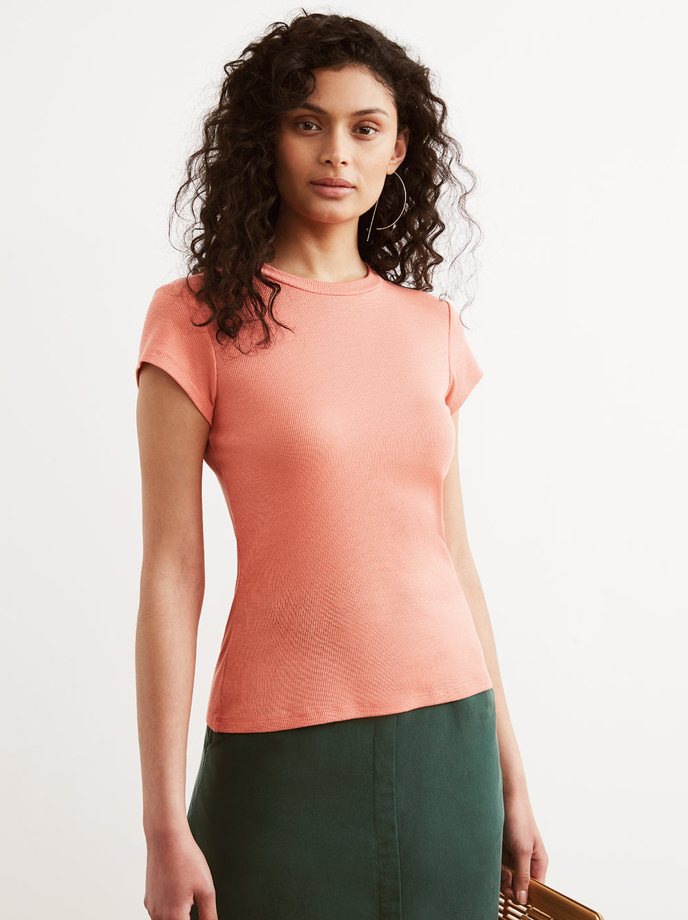 Rumi Orange Ribbed Crew Neck T-Shirt by KITRI Studio