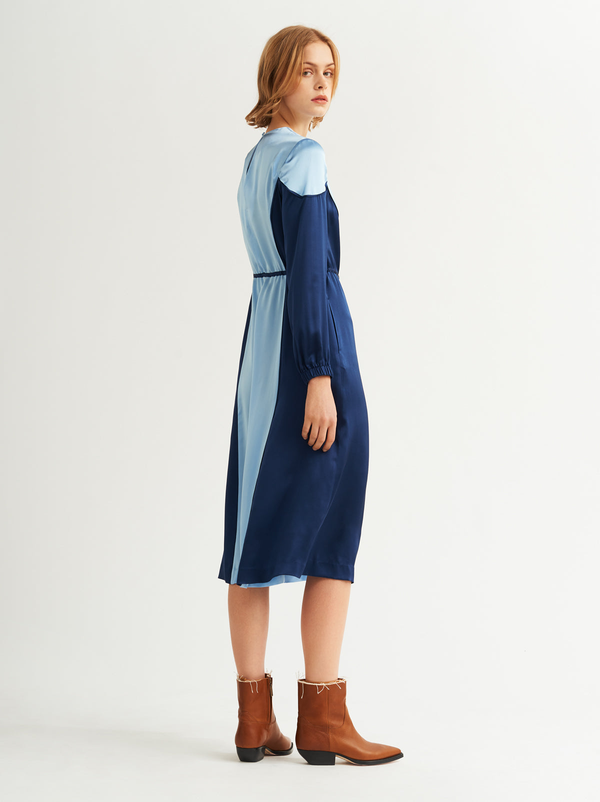 Sofiane Blue Silk Midi Dress by KITRI Studio