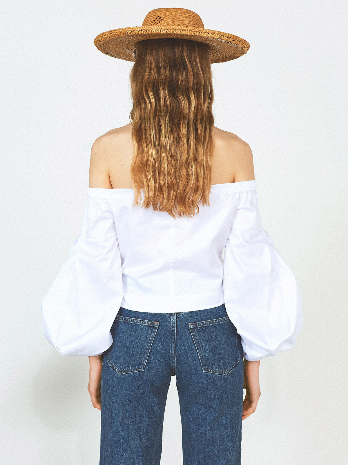 Swanilda White Cotton Off The Shoulder Shirt by KITRI Studio