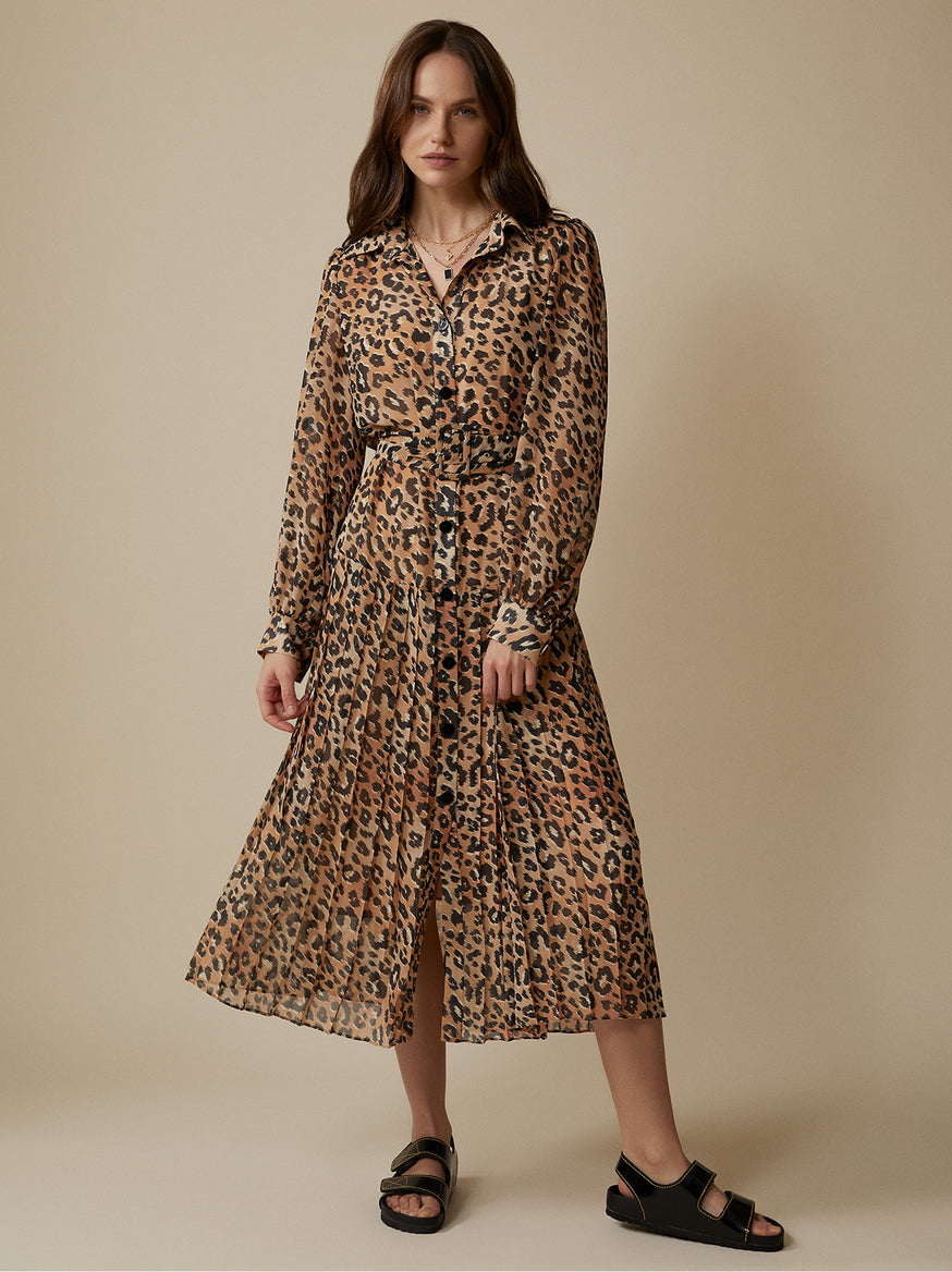 Tara Leopard Print Shirt Dress by KITRI Studio